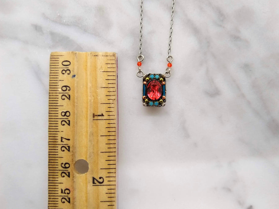 Coral Rectangle Necklace