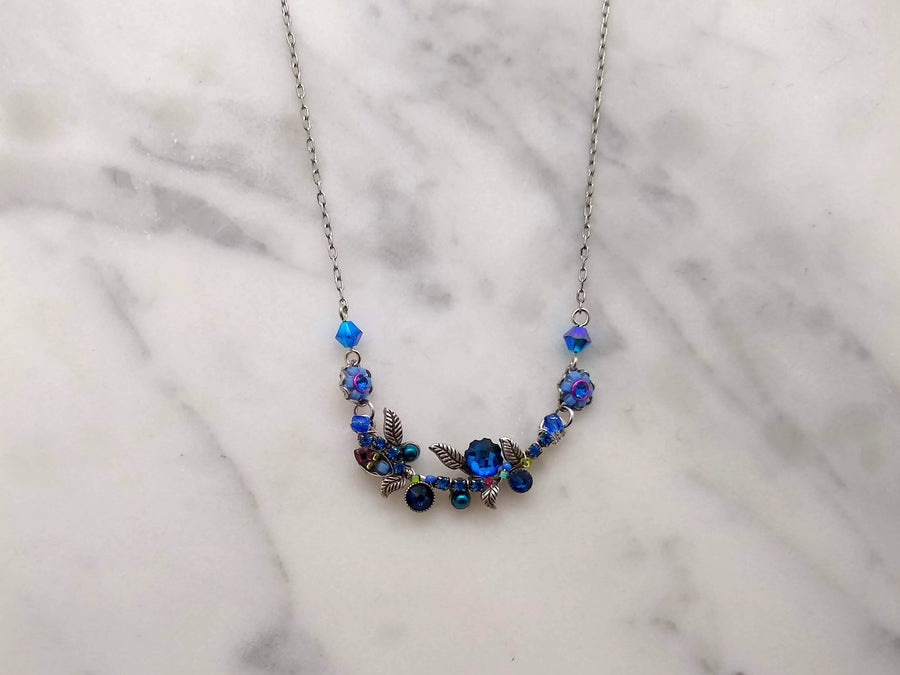 Royal Blue Floral Vine Necklace