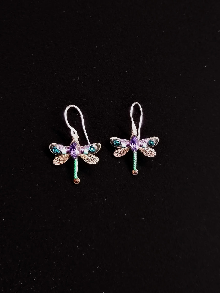 Purple and Teal Dragonfly Earrings