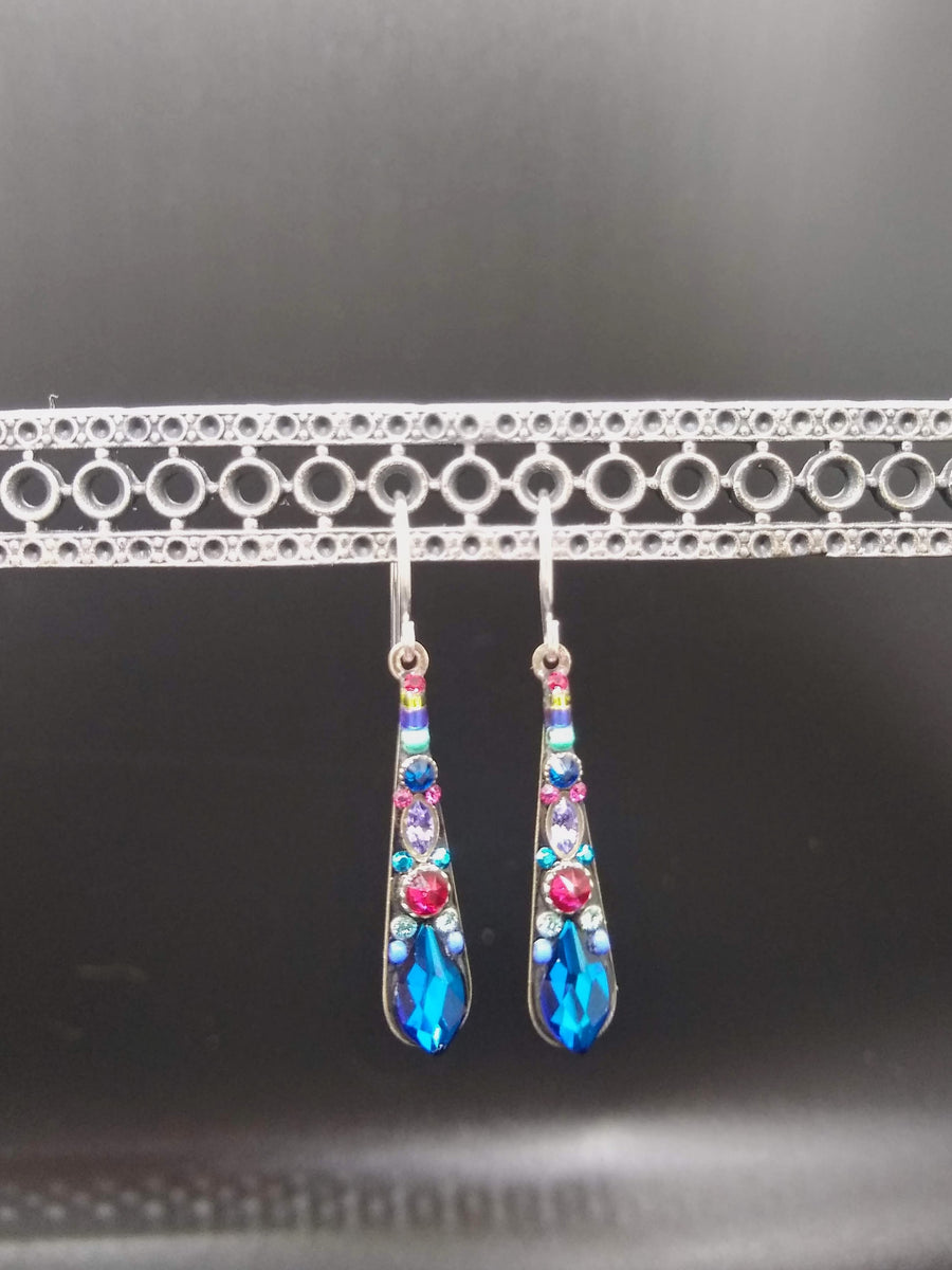 Royal Blue and Red Droplet Earrings