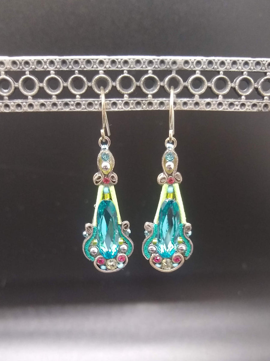 Elaborate Aqua Blue Earrings