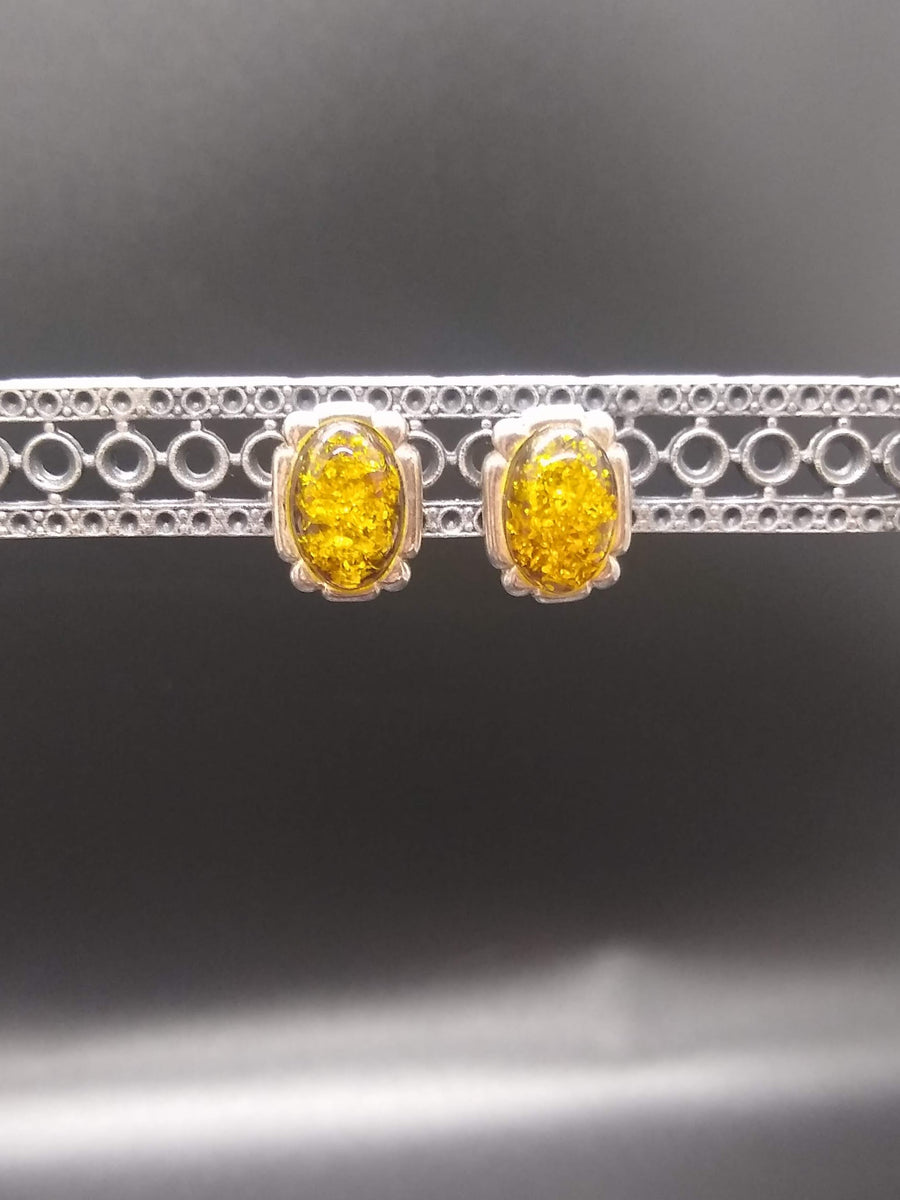 Golden Amber Stud Earrings