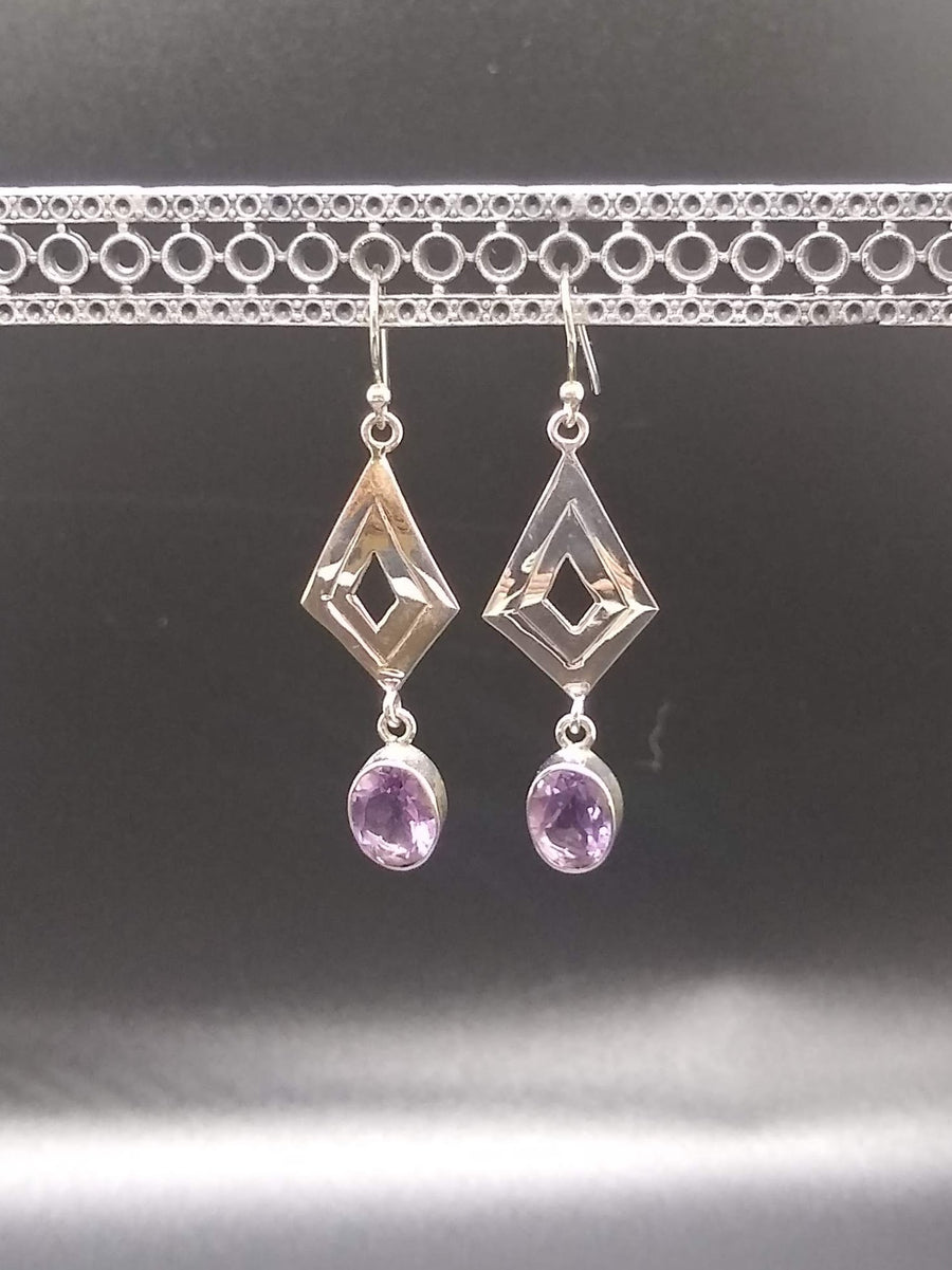 Silver Kite Amethyst Earrings