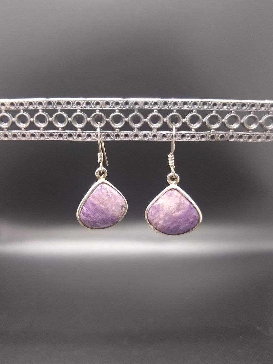 Dangling Charoite Earrings