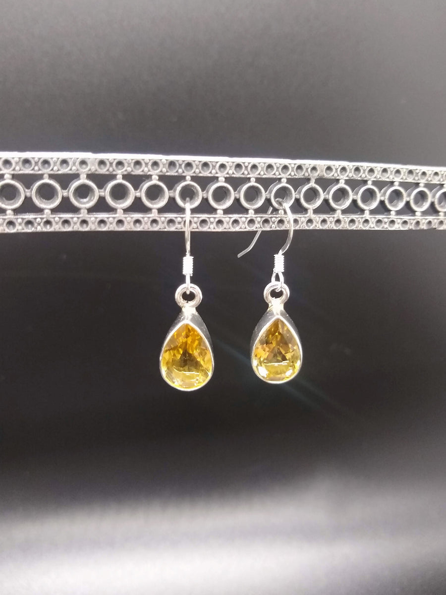 Dangling Faceted Citrine Earrings