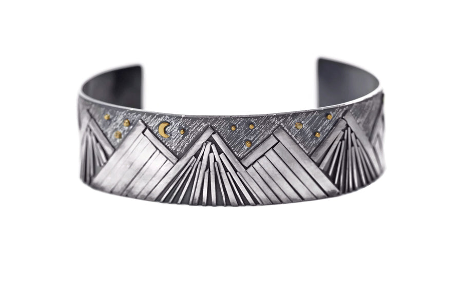 Silver Mountain Cuff with Gold Moon and Stars