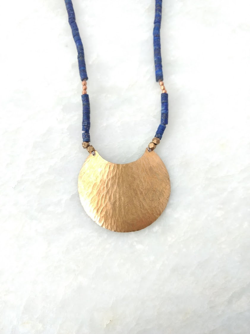 Brass and Lapis Lazuli Necklace