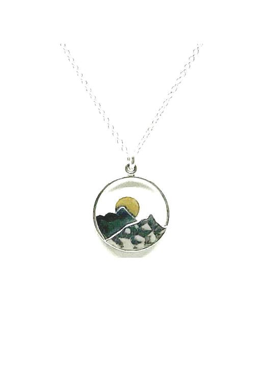 Moon and Mountain Necklace