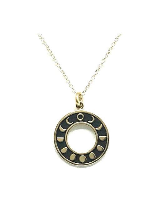 Gold Phases of the Moon Circle Necklace
