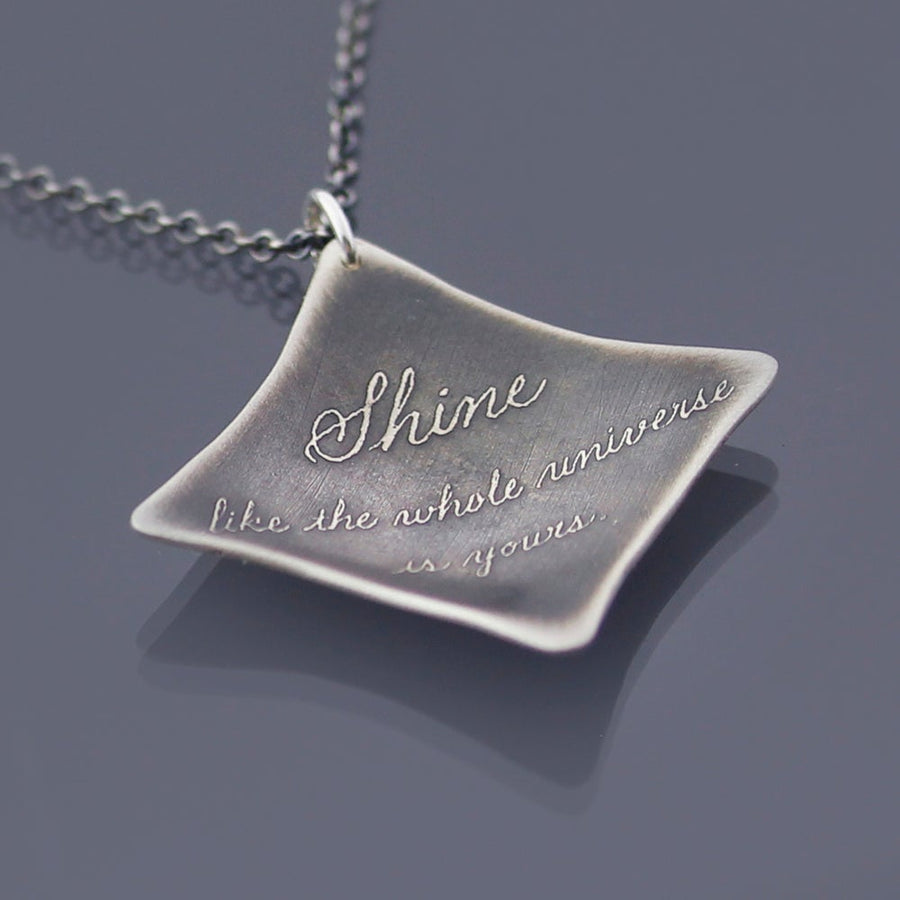 Rumi Shine Quote Silver Necklace