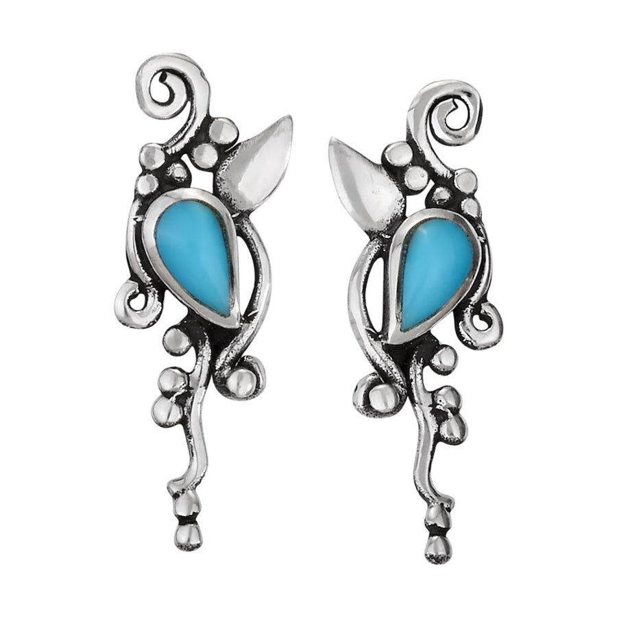 Turquoise Vine and Leaf Studs