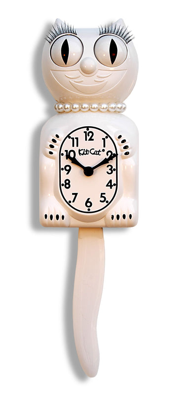 White Kit-Cat Clock with Pearls