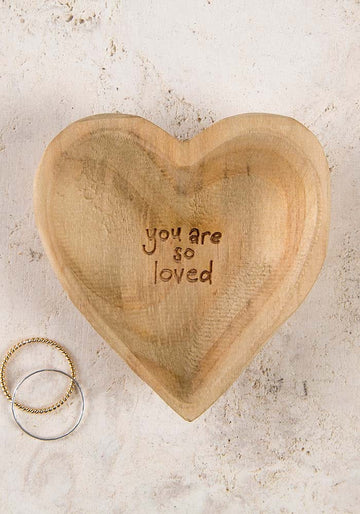 'You Are So Loved' Wood Heart Dish