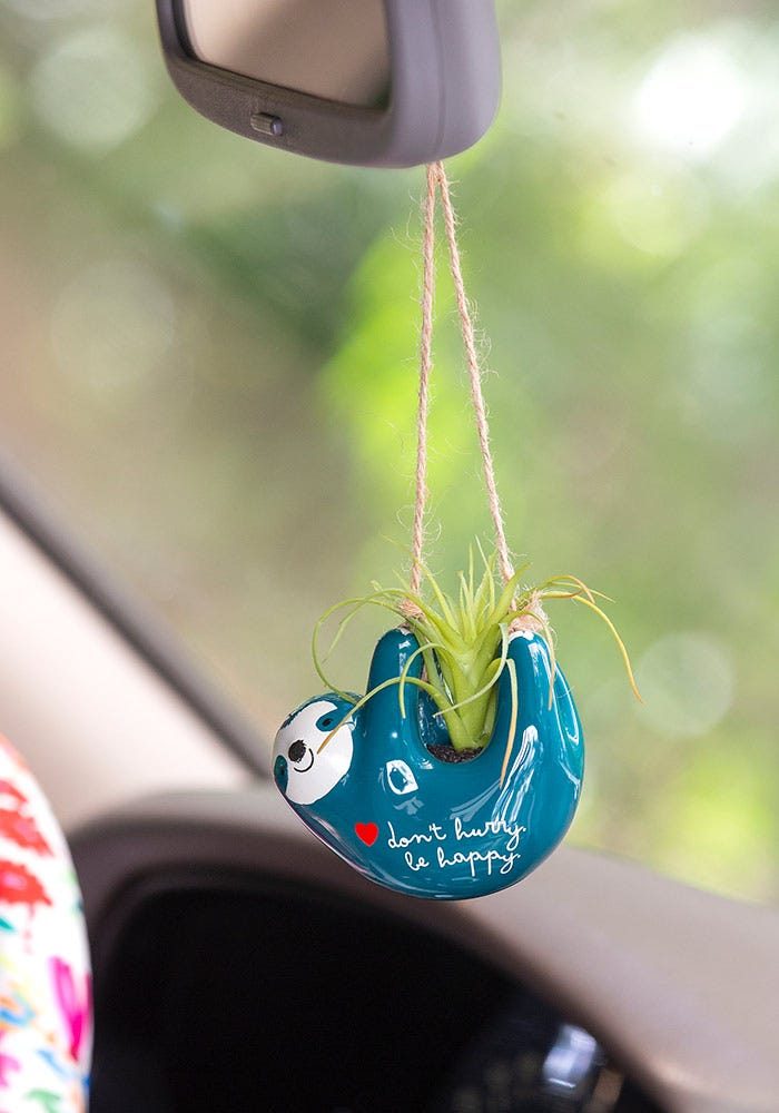 Hanging Faux Succulent Blue Sloth