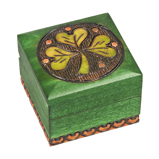 Mini Celtic Clover Wooden Box