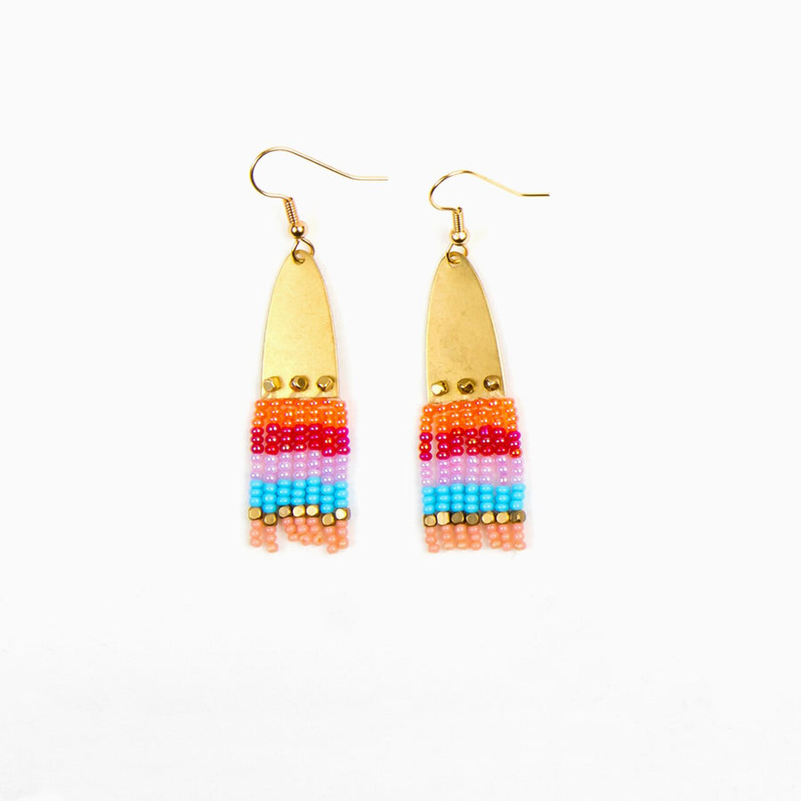 Half Elipse Beaded Earrings