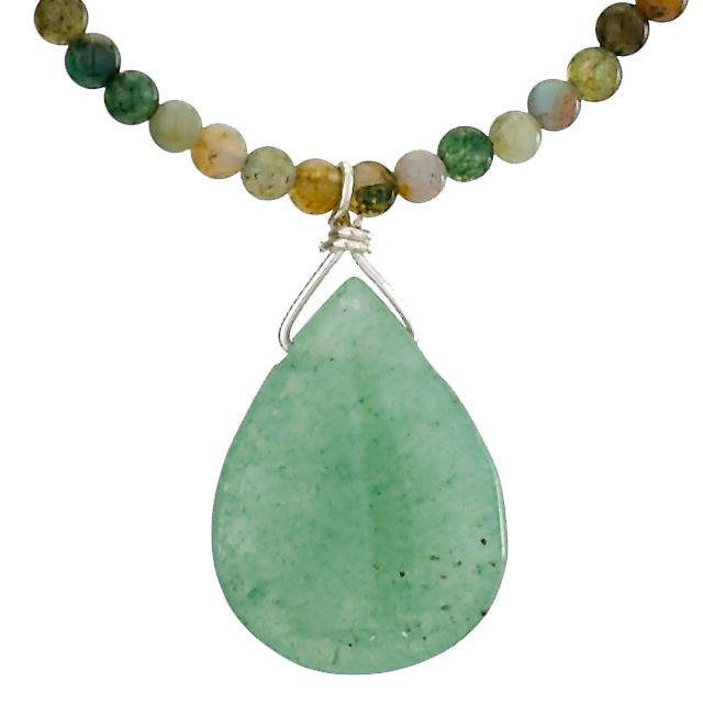 Jade Necklace with Stone Beaded Chain