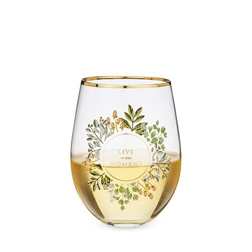 'Live in the Moment' Stemless Wine Glass