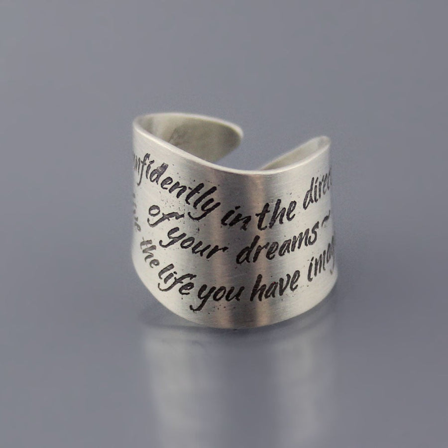 Thoreau Quote Wrap Ring