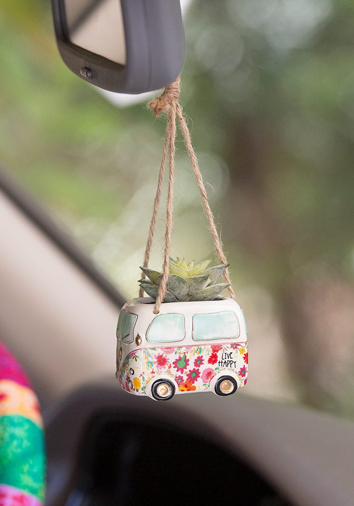 Happy Van Hanging Faux Succulent