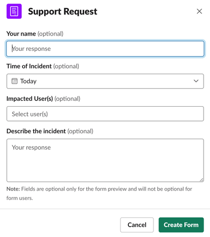 slack forms support request example