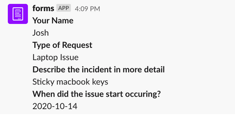 slack forms it support ticket response example