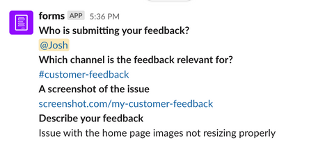 slack feedback form post back to channel example