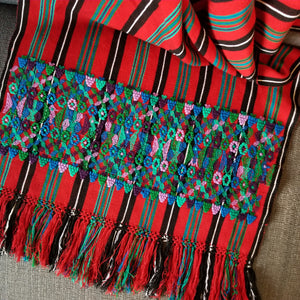 Backstrap Loom Shawl/Throw with 2 Brocaded Panels