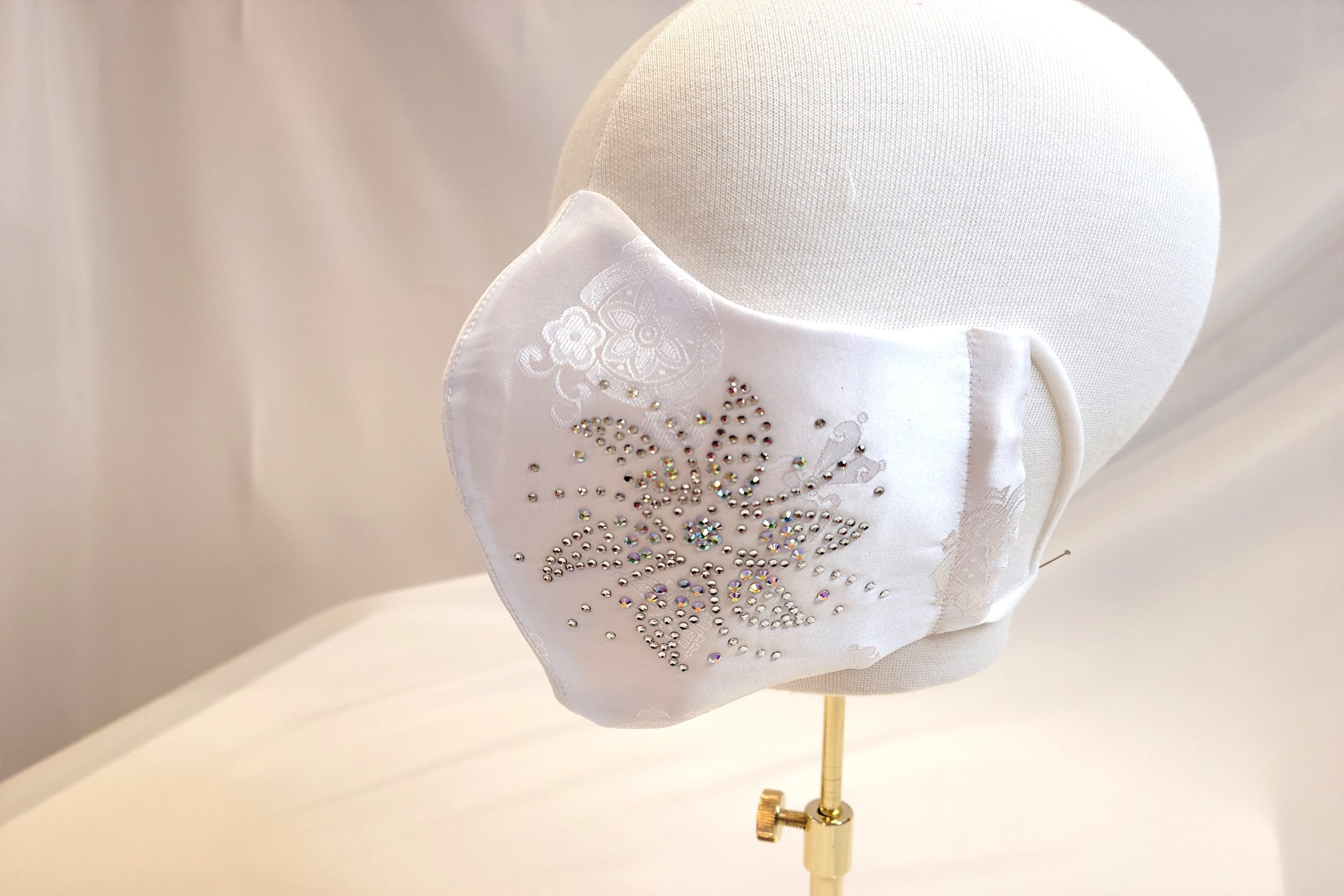 White Satin Rhinestone Mask
