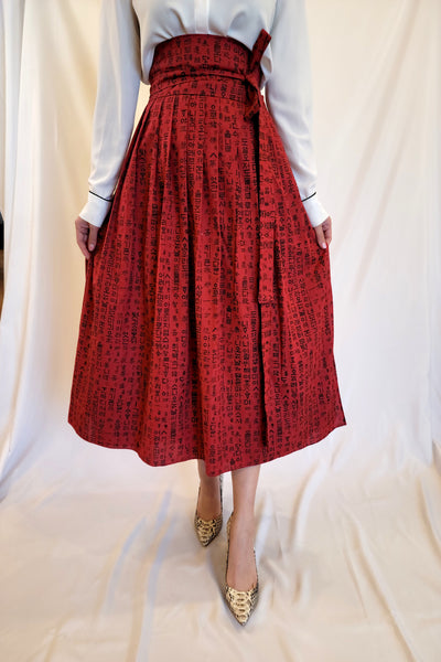 Red Letters Wrap Skirt