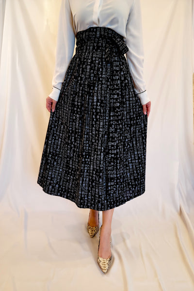 Black Letters Wrap Skirt