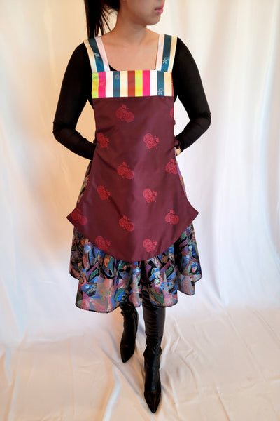 Hanbok Vest Apron (Reversible) Blue/Gold/Burgundy