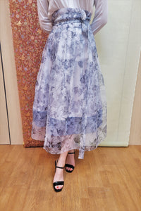 Blue Garden Wrap Skirt