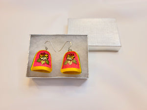 Hand Embroidered Thimble Earrings