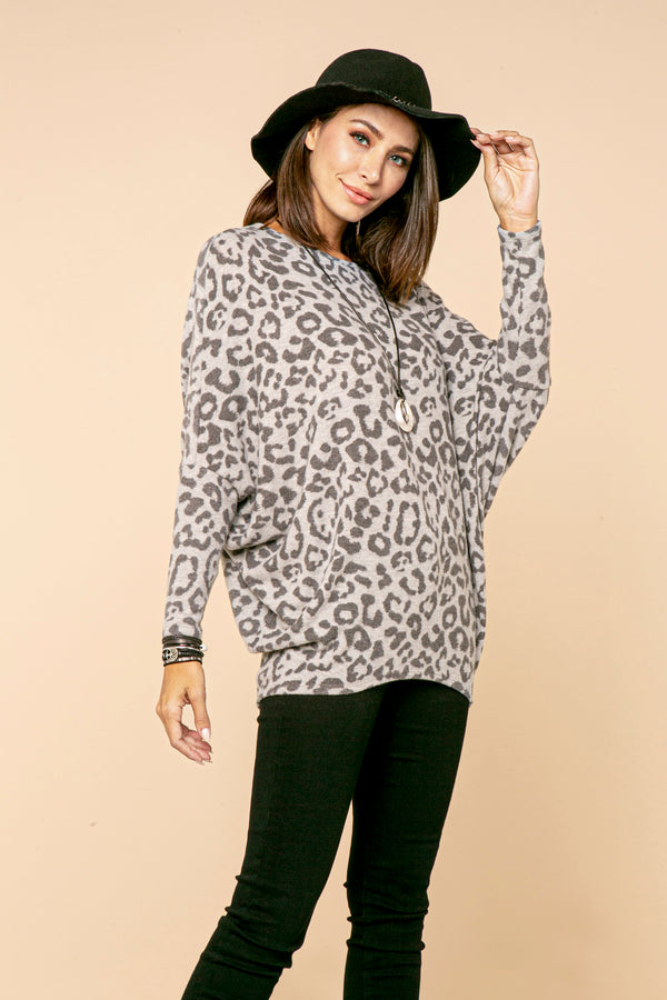 Animal Print Heather Grey Dolman Top STYLE JP02A1