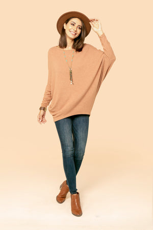 Camel Solid Dolman Top STYLE JP02H