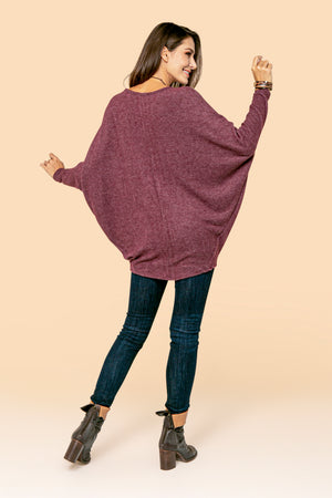 Plum Solid Dolman Top STYLE JP02H