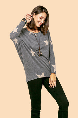 Charcoal Star Dolman Top STYLE: JP02ST