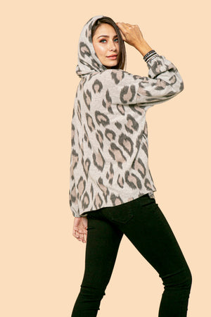Cow Print V Neck Hoodie STYLE: JP07CP