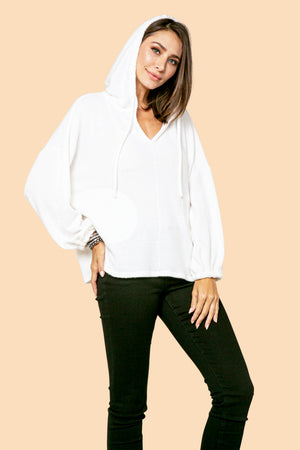 Solid V-Neck Hoodie STYLE: JP07H
