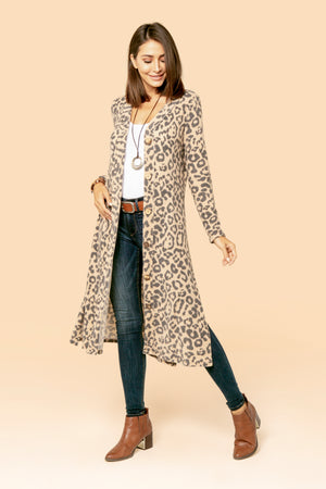 Camel Cheetah Side Slit Cardigan STYLE: JP13A1