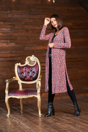 Red Cheetah Side Slit Cardigan STYLE:  JP13A1