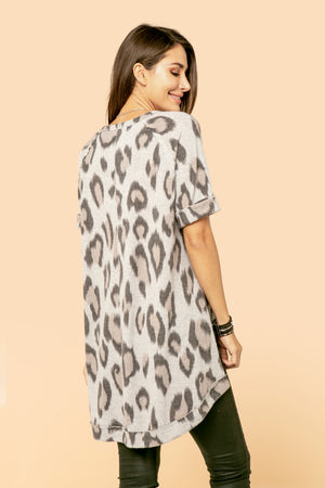 Cow Print V Neck Tunic STYLE: JP48CP