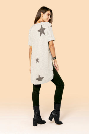 STAR SIDE SLIT V-NECK TUNIC