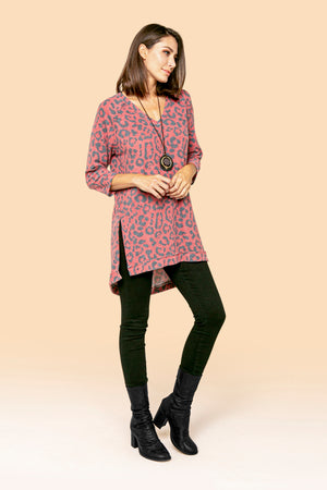 Red Cheetah Hi-Low Tunic STYLE: JP64A1