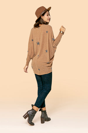 Camel Small Star Dolman Top STYLE: P02ST2