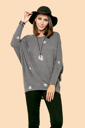 Charcoal Small Star Dolman Top STYLE: P02ST2
