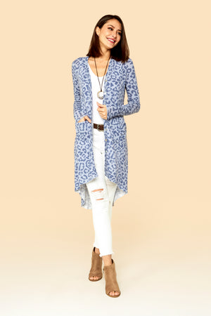CHEETAH DENIM  PRINT HI LOW CARDIGAN P16P1