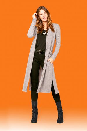 H.Grey Straight Side Slit Cardigan STYLE: P20R