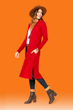 Red Straight Side Slit Cardigan STYLE: P20R